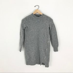 Marc Jacobs Gray Wool Tunic Sweater Side Zip Small